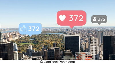 City with increasing social media popularity 4k