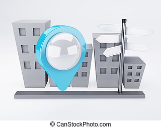 city with map Pointers. gps concept - image of city with map...