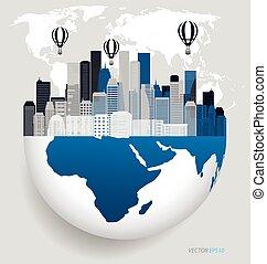 City with modern design globe. illustration.
