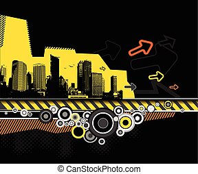 City with pink circles. Vector
