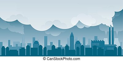 city with Pollution Problem Blue Background