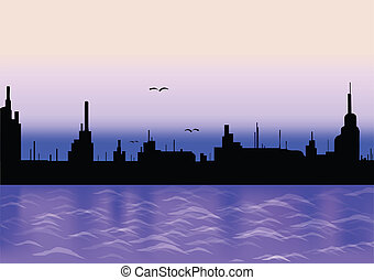City with reflection silhouette. Vector