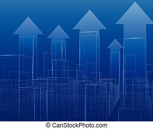 City with skyscrapers outline vector growing chart.