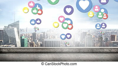 City with social media icons 4k