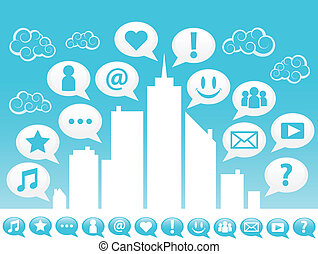 City with social media icons.
