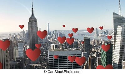 City with tall buildings and hearts