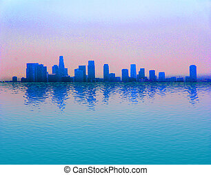 City with Water Reflection