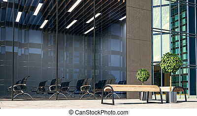 City wooden benches on a street and modern spacious conference room.