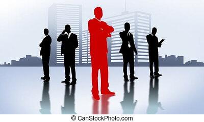 city., zakenlieden, team