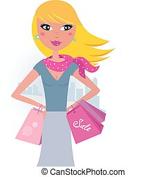 city:, zakupy, blond, klient