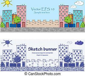 Cityckape baners - doodle illustration