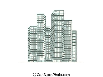 city..eps, edifícios, high-rise, ilustração