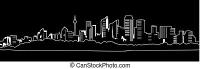 city..eps, grande, esboço, noturna