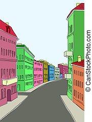 city..eps, rua, antigas, ilustração