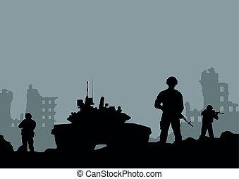 city..eps, tanque, destruição, ilustração, soldados