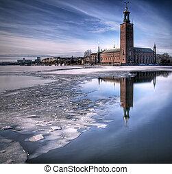 Cityhall Stockholm - Winter image of Stockholms cityhall.