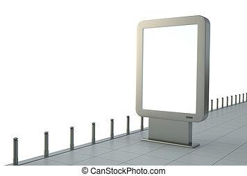 Citylight - Blank outdoor advertising sign. 3D render.