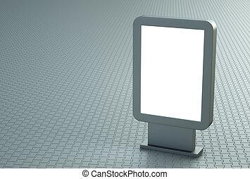 Citylight on a pavement - Blank outdoor citylight banner. 3D...