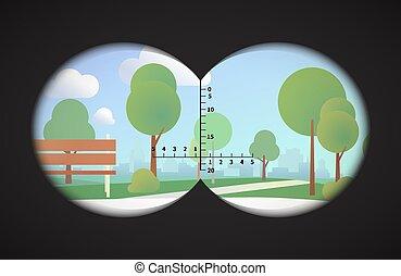 cityline, 公園, 雙筒望遠鏡, 背景, 風景, 看法