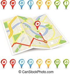 citymap, touriste, endroits, marqueurs, important, 3d