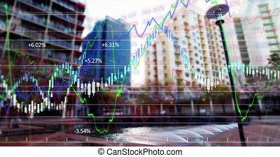 city\'s, bâtiments., sur, courbes, financier
