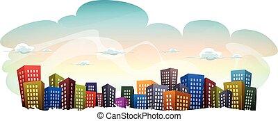 cityscape, à, bâtiments, sur, ciel, fond