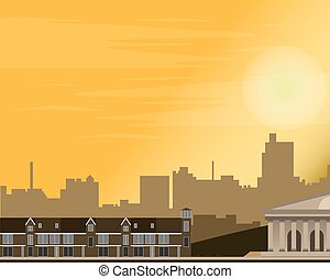 cityscape, à, sunset., panorama, de, les, rue., summer., vecteur, illustration.
