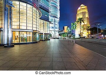 cityscape, épületek, lumpur, kuala, éjszaka
