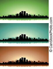 cityscape, été, ensemble, bannière