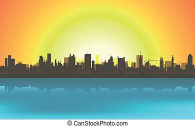 cityscape, été, fond