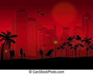 cityscape , άνθρωποι , περίγραμμα , όμορφος