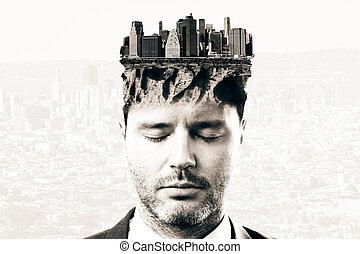 cityscape , κεφάλι , προσεκτικός , άντραs