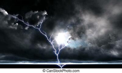 cityscape, ночь, сильный, молния