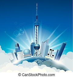 cityscape, 在上, 地球, shanghai's, 里程碑, 建筑学, -, 东方, pearl.