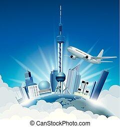 cityscape, 在上, 地球, shanghai's, 里程碑, 建筑学, -, 东方, pearl.aircraft, flight.