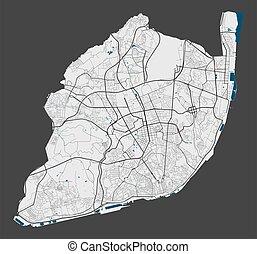 cityscape., 詳しい, illustration., 都市, 無料で, 地図, lisboa, 特許権使用料...