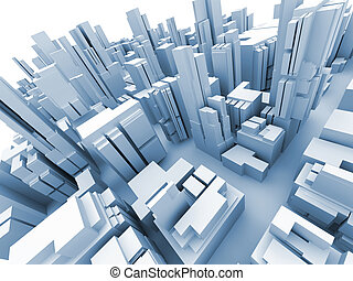 Abstract 3d model of megacity