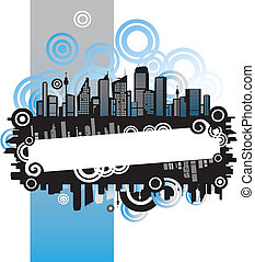Cityscape, abstract frame, with place for your text