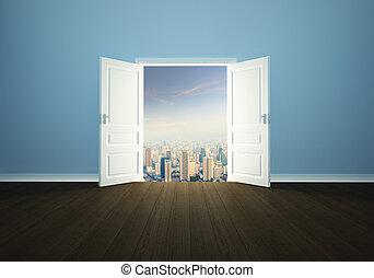 cityscape, achter, de, deur