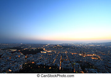 Cityscape aerial view at night, Athens Greece