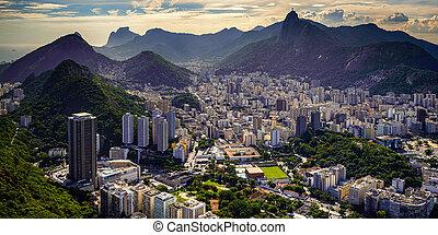 Cityscape - Aerial view of a city on a hill, Rio De Janeiro,...