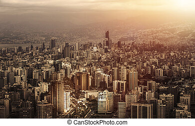 Aerial view of beautiful cityscape on sunset, arabic architecture, down town, middle east, Lebanon, travel and vacation concept