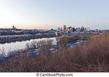Cityscape along riverfront - Riverfront and downtown skyline...