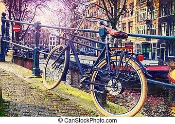 cityscape, amsterdam, fahrrad, altes