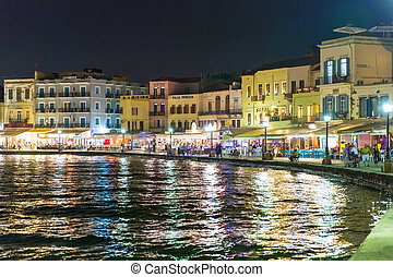 Cityscape and bay in city Chania/Crete/Greece at night