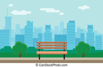 Cityscape and bench - Flat Cityscape With Park And Bench