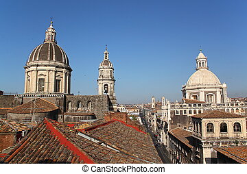 Cityscape and Cathedral of Catania, Italy - Cityspace of...
