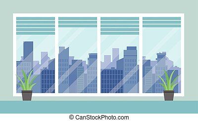 Flat Cityscape And Office Room