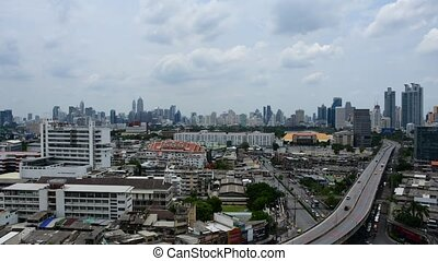 Cityscape and transportation in daytime, Timelapse