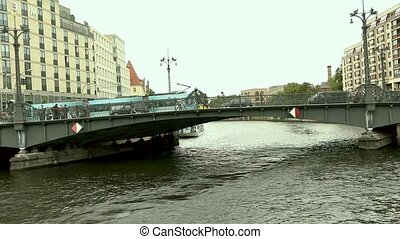 Cityscape and Weidendammer Bridge on Spree river in Berlin...
